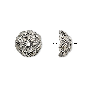 bead cap, antiqued pewter (tin-based alloy), 13x6mm scalloped round with flower design, fits 10-12mm bead. sold per pkg of 4.