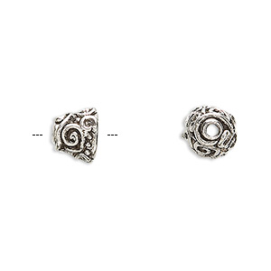 bead cap, antiqued pewter (tin-based alloy), 9x8mm round with swirl design, fits 8-10mm bead. sold per pkg of 4.