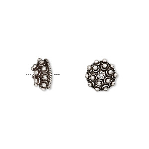bead cap, antiqued sterling silver, 10x5mm circle, fits 8-10mm bead. sold per pkg of 2.