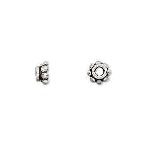 bead cap, antiqued sterling silver, 7x3.5mm beaded rondelle, fits 6-8mm bead. sold per pkg of 10.