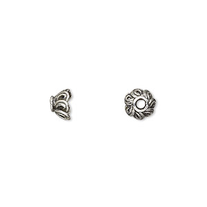 bead cap, antiqued sterling silver, 7x4.5mm round with overlapping design, fits 5-6mm bead. sold per pkg of 4.