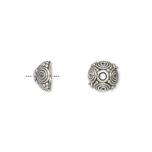 bead cap, antiqued sterling silver, 8x5mm round with swirls, fits 7-9mm bead. sold per pkg of 4.