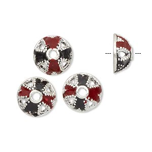 bead cap, enamel and antique silver-plated brass, opaque red and black, 11.5x5.5mm beaded round, fits 10-12mm bead. sold per pkg of 4.