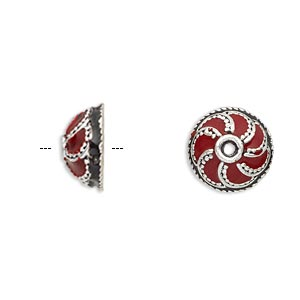 bead cap, enamel and antique silver-plated brass, opaque red and black, 13x6mm beaded round, fits 10-12mm bead. sold per pkg of 2.