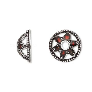 bead cap, enamel and antique silver-plated brass, transparent red, 15.5x7mm beaded round with star design, fits 14-16mm bead. sold per pkg of 2.