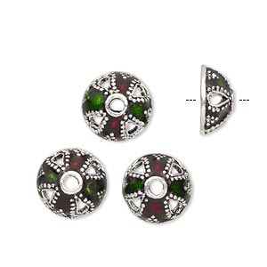 bead cap, enamel and antique silver-plated brass, transparent red and green, 11.5x5.5mm beaded round, fits 10-12mm bead. sold per pkg of 4.