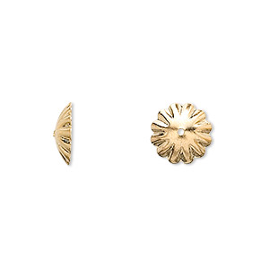 bead cap, gold-finished brass, 10x3mm scalloped round, fits 12-14mm bead. sold per pkg of 100.