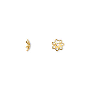 bead cap, gold-finished brass, 6x1.5mm flower with cutouts, fits 6-8mm bead. sold per pkg of 100.