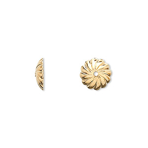 bead cap, gold-plated brass, 10x2.5mm round with swirl design, fits 10mm bead. sold per pkg of 10.