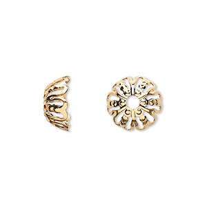 bead cap, gold-plated brass, 12x5mm filigree round, fits 12-16mm bead. sold per pkg of 100.