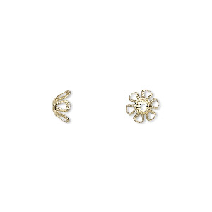 bead cap, gold-plated brass, 7x4mm flower, fits 7-9mm bead. sold per pkg of 1,000.