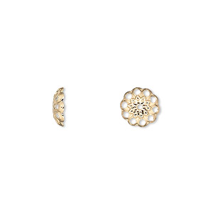 bead cap, gold-plated brass, 8x2mm fancy round with cutouts, fits 8-10mm bead. sold per pkg of 500.