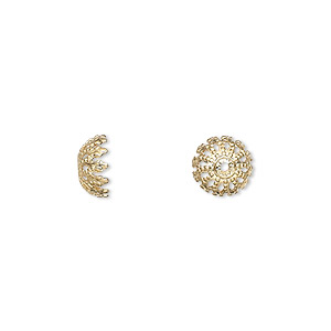 bead cap, gold-plated brass, 8x4mm fancy round, fits 8-10mm bead. sold per pkg of 100.