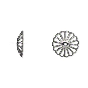 bead cap, gunmetal-plated brass, 13x3mm fancy round with cutout pattern, fits 13-16mm bead. sold per pkg of 50.