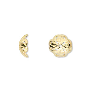 bead cap, jbb findings, gold-plated pewter (tin-based alloy), 11x4.5mm round with celtic knot design, fits 10-14mm bead. sold per pkg of 2.