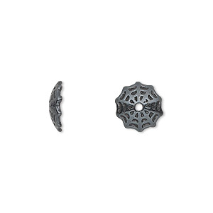 bead cap, jbb findings, gunmetal-plated pewter (tin-based alloy), 10x3mm spider web, fits 10-14mm bead. sold per pkg of 2.