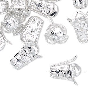 bead cap, silver-finished aluminum, silver, 14x13mm textured bell, fits 11mm bead. sold per pkg of 24.