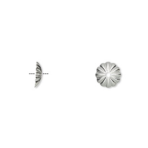 bead cap, silver-plated brass, 8x2mm ribbed round, fits 8-10mm bead. sold per pkg of 1,000.