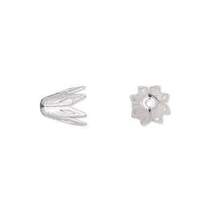 bead cap, silver-plated brass, 9x8mm fancy star, fits 8-10mm bead. sold per pkg of 50.