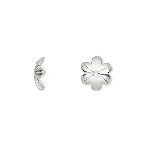 bead cap, sterling silver, 10x2.5mm flower, fits 8-10mm bead. sold per pkg of 4.