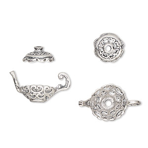 bead cap, sterling silver, 18x11mm teapot, fits 8-10mm bead. sold per 2-piece set.