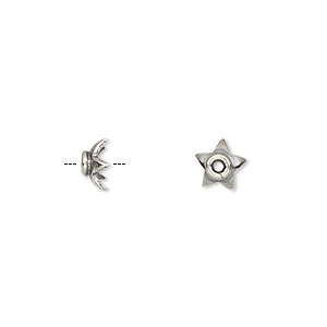 bead cap, sterling silver, 7x3.5mm star, fits 6-8mm bead. sold per pkg of 6.