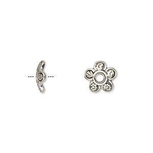 bead cap, sterling silver, 9x2.5mm flower, fits 8-10mm bead. sold per pkg of 4.