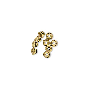 bead cap, tierracast, antique gold-plated pewter (tin-based alloy), 3.5x2mm beaded round, fits 2-4mm bead. sold per pkg of 10.