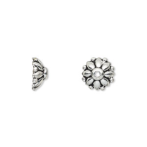 bead cap, tierracast, antique silver-plated pewter (tin-based alloy), 10x4mm round flower, fits 9-11mm bead. sold per pkg of 2.