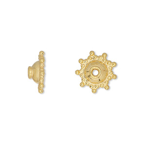 bead cap, vermeil, 12x4mm fancy round, fits 10-12mm bead. sold per pkg of 6.