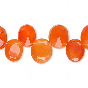 bead, carnelian (dyed / heated), 12x10mm faceted oval, b grade, mohs hardness 6-1/2 to 7. sold per 16-inch strand.