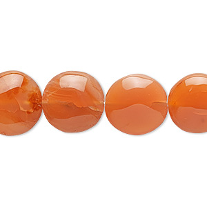 bead, carnelian (dyed / heated), 13mm hand-cut flat round, c grade, mohs hardness 6-1/2 to 7. sold per 16-inch strand.