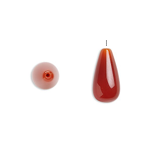 bead, carnelian (dyed / heated), 15x8mm half-drilled teardrop with 0.5-1.5mm hole, b grade, mohs hardness 6-1/2 to 7. sold per pkg of 10.