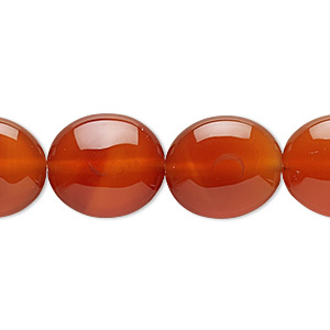 bead, carnelian (dyed / heated), 16x14mm flat oval, c grade, mohs hardness 6-1/2 to 7. sold per 16-inch strand.