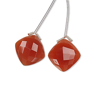 bead, carnelian (dyed / heated), 17x17mm hand-cut top-drilled faceted puffed diamond, b grade, mohs hardness 6-1/2 to 7. sold per pkg of 2 beads.