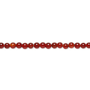 bead, carnelian (dyed / heated), 3mm round, c grade, mohs hardness 6-1/2 to 7. sold per 16-inch strand.