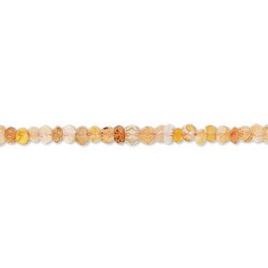 bead, carnelian (dyed / heated), 3x2mm-4x3mm hand-cut faceted rondelle c grade, mohs hardness 7. sold per 13-inch strand.