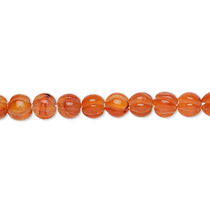 bead, carnelian (dyed / heated), 4.5-6.5mm hand-cut corrugated round, b grade, mohs hardness 7. sold per 16-inch strand.