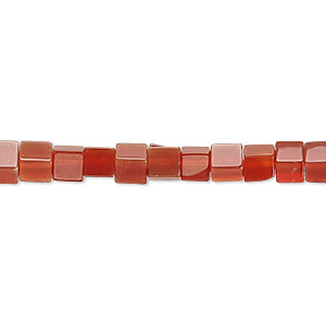 bead, carnelian (dyed / heated), 4x4mm cube, c grade, mohs hardness 6-1/2 to 7. sold per 16-inch strand.