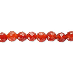 bead, carnelian (dyed / heated), 6mm faceted round, c grade, mohs hardness 6-1/2 to 7. sold per 16-inch strand.