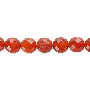 bead, carnelian (dyed / heated), 8mm faceted round, c grade, mohs hardness 6-1/2 to 7. sold per 16-inch strand.