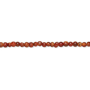 bead, carnelian (dyed / heated), dark, 2-3mm hand-cut round, d- grade, mohs hardness 7. sold per 13-inch strand.
