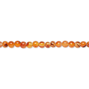 bead, carnelian (dyed / heated), light to medium, 3-4mm hand-cut round, d grade, mohs hardness 6-1/2 to 7. sold per 14-inch strand.