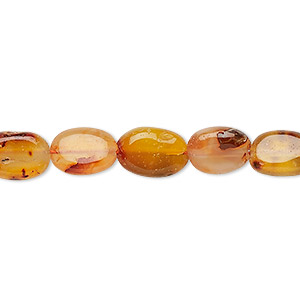 bead, carnelian (dyed / heated), light to medium, 9x7mm-13x8mm hand-cut flat oval, c- grade, mohs hardness 6-1/2 to 7. sold per 13-inch strand.