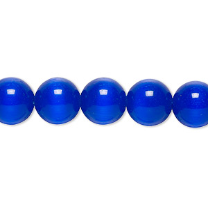 bead, cats eye glass, dark blue, 10mm round, quality grade. sold per 16-inch strand.