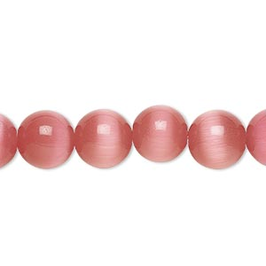 bead, cats eye glass, dark pink, 10mm round, quality grade. sold per 16-inch strand.