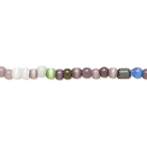 bead, cats eye glass, multicolored, 3-5mm round. sold per 15-inch strand.