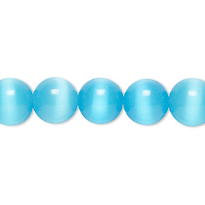 bead, cats eye glass, turquoise blue, 10mm round, quality grade. sold per 16-inch strand.