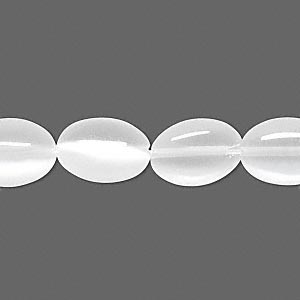 bead, cats eye glass, white, 14x10mm flat oval. sold per 16-inch strand.