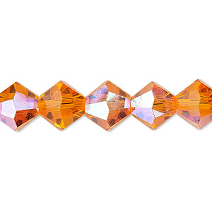 bead, celestial crystal, 16-facet, transparent orange ab, 10mm faceted bicone. sold per 16-inch strand.